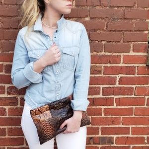 Free People Denim Snap Front Shirt